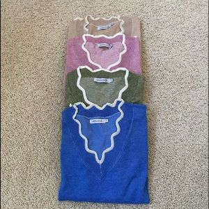 """MISSLOOK"" 💐 long sleeve sweaters w/scalped trim"
